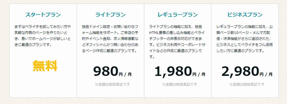 ペライチの価格表